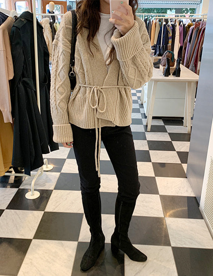 cable cardigan (3color)