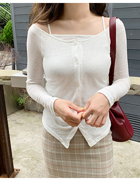 slim wide cardigan set (2color)